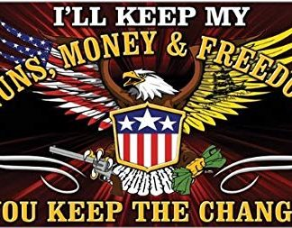 GUNS MONEY FREEDOM FLAG 3X5