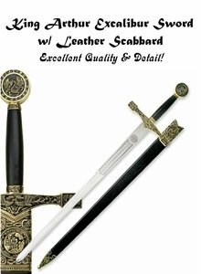 King Arthur Excalibur Sword with Leather Scabbard