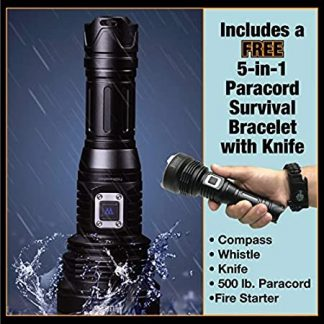 Wuben 3500 Lumen Flashlight w/Survival Bracelet