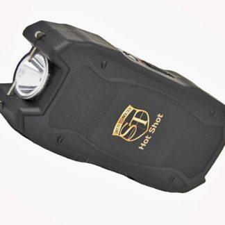Hot Shot stun gun with flashlight and Battery Meter Black