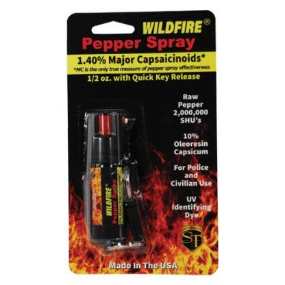Wildfire 1.4% MC 1/2 oz pepper spray belt clip and quick release keychain