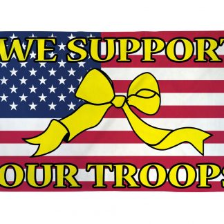 We Support Our Troops Flag (USA Ribbon) 3x5ft Poly