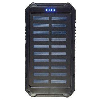 Solar Charging Backup Battery with LED Lantern - Black