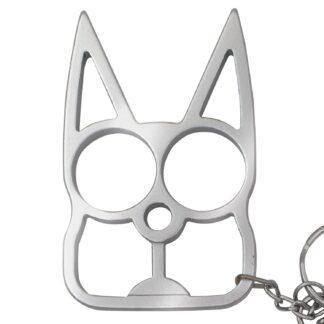 Cat Public Safety Keychain- Silver